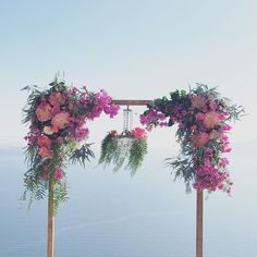 Peonies + bougainvillea = Loved styling this arch crafted by and flower designed by ❤️… Bougainvillea Wedding, Wedding Ceremony Decorations, Arbors, Santorini, Flower Designs, Peonies, Backdrops, Arch, Future