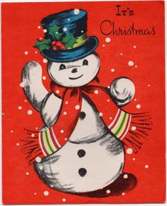 Frosty Snow man Snowman Flake Winter Red VTG Christmas Greeting Card