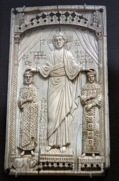 Ivory relief of Christ crowning Emperor Otto II (973-83) and his wife Theophanu. Otto married Theophanu, niece of the Eastern Roman Emperor John I Tzimisces, on April 14, 972, and became sole emperor in 973. The subject and composition strongly indicate the work of a Byzantine artist working in the West, and illustrate the close ties between the two cultures in the early Middle Ages.