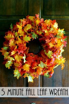 Add this fall wreath to your front door! It is quick and easy to make with one…http://blog.oldtimepottery.com/5-minute-fall-leaf-wreath/