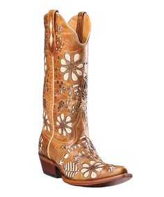 Love this Johnny Ringo Boots Brown & Cream Cutout T-Toe Leather Cowboy Boot - Women by Johnny Ringo Boots on #zulily! #zulilyfinds. $136!