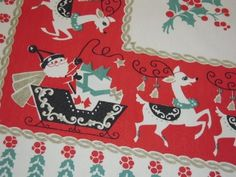 Vintage CHRISTMAS Tablecloth Happy Santa & His Reindeer Signed by Eda Maria. Love this!  On etsy from UncleBunksTrunk