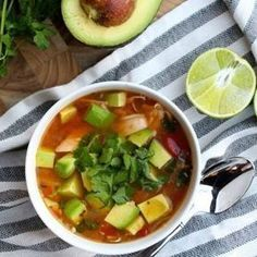 """Crockpot Chicken, Avocado and Lime Soup healthy whole30 paleo glutenfree Recipost Reciposter """"Dallas Food Blogger"""" """"The Defined Dish"""" #YummySoup"""