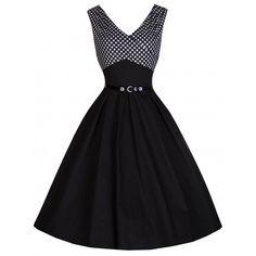 'Valerie' Black Polka Dot Edged Swing Dress - Dresses