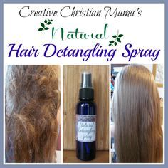 Natural Detangling Spray- Pour 4 ounces of aloe juice into the bottle. Add 25 drops of lavender essential oil, 20 drops of orange essential oil and 10 drops of rosemary essential oil. Put on the lid and gently shake to thoroughly mix in the essential oils. Spray as much as needed into wet or dry hair. We use 5 to 10 sprays before brushing tangles out of dry hair.