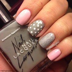Pink and grey nails with polka dots inspiration. #nails #nailart