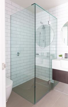 Bathroom:Cool Shower Tiles Ideas With White Plaid Tiles Wall And Frameless Glass Shower Screen Added Brown Ceramic Floor Tips for Select Your Shower Tiles Ideas click the link now for more info. Frameless Shower, Shower Tiles, Diy Shower, Custom Shower, Bathroom Renovations Perth, Kitchen Renovations, Romantic Bathrooms, Small Bathrooms, Modern Flooring