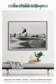 Venice Skatepark print PRINTABLE Wall Art California Skateboarding  DOWNLOADABLE prints Los Angeles — Interior Styling Art Prints in Black  and White by The Middle Village