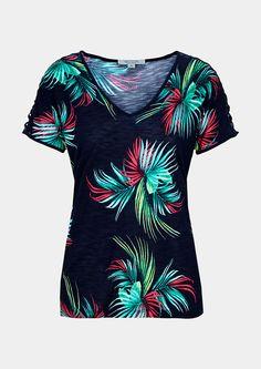 b43e66bc56908b Kurzarmshirt mit aufregendem Floralmuster - jetzt im comma Online Store  entdecken und bequem bestellen.