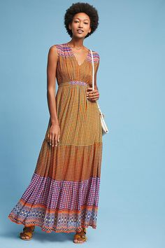I like the colors on this Anthropologie dress: Aelyn Embroidered Maxi Dress