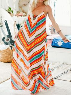 Multicolor Spaghetti Strap Hippies Boho Bohemian Chevron Print Maxi Dress 15.11