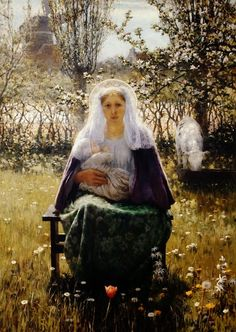 George Hitchcock - American artist, 1850-1913 -  Blessed Mother