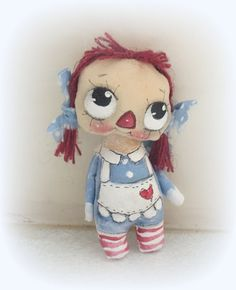 Another of my Raggedy Annies ! wired arms Hand Painted Original collectable the second pic she is with her cheel