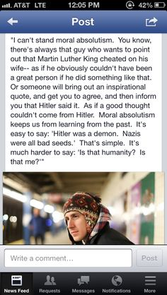 'Moral Absolutism'--Now that's some food for thought.   From Humans of New York