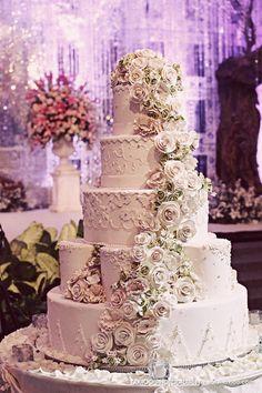 5 tier white rose wedding cake
