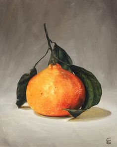 Tangerine - Original Oil Painting by Claire Elan. ~KJH~ Good example of grounding Painting Still Life, Still Life Art, Fruit Painting, Painting Art, Paintings, Fruit Art, Art Plastique, Botanical Art, Art Oil