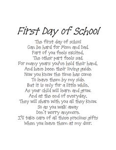Back To School Poem.pdf send home with a first day picture First Day Poem, First Day Of School Quotes, Back To School Poem, First Day School, Beginning Of The School Year, New School Year, Back To School Sayings, School Days Quotes, School Prayer