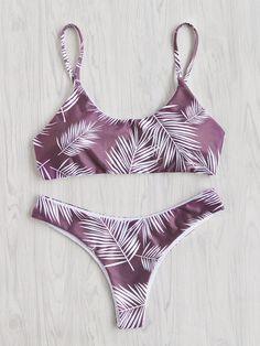 Jungle Print Cross Back Bikini Set