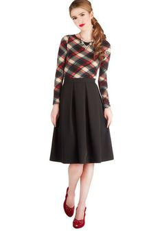 Office Envy Skirt by Myrtlewood - Private Label, Black, Solid, Work, Better, Black, Exclusives, Mid-length, Woven, Pleats, A-line
