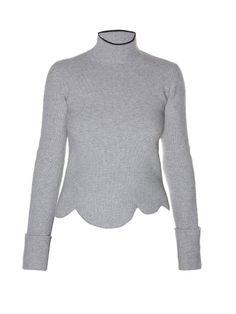 MARNI High-Neck Scalloped-Hem Sweater. #marni #cloth #sweater