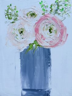 Bucket of Blues by Jan Purcell Oil 24 x 20 Floral paintings