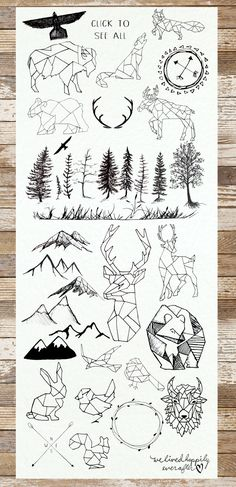 Geometric Animals & Rustic Landscape by WeLivedHappilyEverAfter on Creative Market