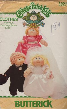 Cabbage Patch Kids Doll Clothes Pattern Wedding Bride Groom Bridesmaid vintage sewing pattern Butterick 3927 410 by mbchills