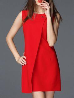 Red Paneled Bateau/boat Neck Plain Casual Mini Dress