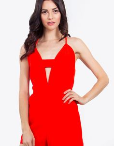 Look red hot in the Pop Cherry Romper. Pair it with red pumps and a clutch for a night out. – Spaghetti strap romper with a plunging neckline – Neckline keyhole – Zipper closure  Size + Fit – Model is wearing size S – Measurements taken from size S – Waist: 26″