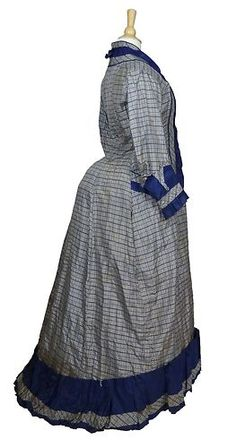 Blue White Plaid Morning Bustle Dress Gown Mother of Pearl Buttons 1876 78 | eBay