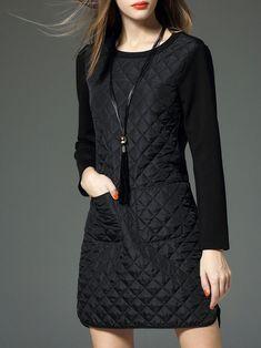 VEINFUNS Pockets Paneled Mini Dress