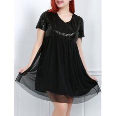 Stylish Women's V-Neck Short Sleeve Sequins Plus Size Dress — 18.19 € Size: XL Color: BLACK