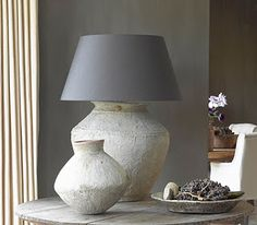 #dreamlivingroom @casabellafurn   @myfamilyties Stoneware lamps on washed gray table. Simplicity and elegance.
