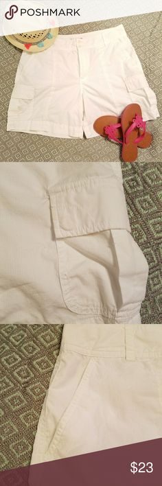 Lauren Ralph Lauren golf shorts size 14 Very lightweight  white mid thight Lauren shorts. Pockets on the legs at the top and one on the back Mid hip waist inseam 5 in. Length 17 in. Waist 34 appox. Excellent  condition. Lauren Ralph Lauren Shorts
