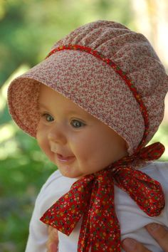 Calico Baby Bonnet Red Calico Apple Picking by norabeesbonnets