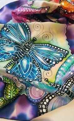 Unique hand painted silk scarf Rainbow by JoannaArtDesign on Etsy