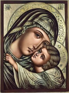 Religious Pictures, Religious Icons, Religious Art, Blessed Mother Mary, Blessed Virgin Mary, Greek Icons, Church Icon, Paint Icon, Christian Artwork
