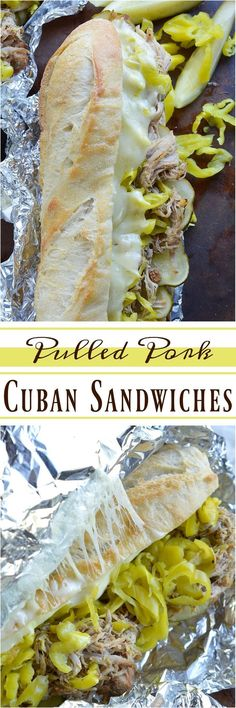 If you are tired of the same old barbecue pork sandwiches give these Slow Cooker Pulled Pork Cuban Sandwiches a try! This easy dinner recipe is inspired by Cuban Sandwiches. Start with Coca-Cola slow cooker pulled pork then add cheese pepperoncinis pick Cuban Recipes, Pork Recipes, Slow Cooker Recipes, Crockpot Recipes, Cooking Recipes, Yummy Recipes, Dinner Crockpot, Barbecue Recipes, Chicken Recipes