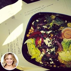 Tweet & Eat! What Your Favorite Stars are Eating & Drinking Right Now | HILARY DUFF | The actress stays focused as she preps for TV Land's single-camera comedy pilot Younger – with the help of a salad bursting with yummy ingredients, including chickpeas, roasted onions and feta.