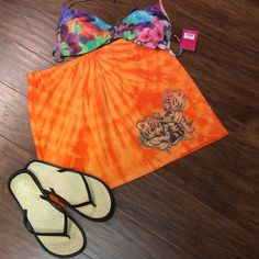 ❌FINAL PRICE ❌️ADORABLE SWIMSUIT COVERUP SKIRT Too cute cotton knit coverup with adorable baby tiger cubs printed on the tye dye material..  DB-2 Boutique Skirts