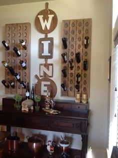 """Pottery Barn French riddling racks and my effort to copy the """"WINE"""" Sign... I love this!"""