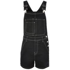 Women's Topshop Contrast Stitch Short Overalls ($37) ❤ liked on Polyvore featuring jumpsuits, rompers, denim rompers, short overalls, topshop rompers and short denim overalls
