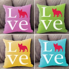 French Bulldog LOVE pillow. Offered in multiple colors and 50+ dog breeds. Cover is machine washable and Made in USA.