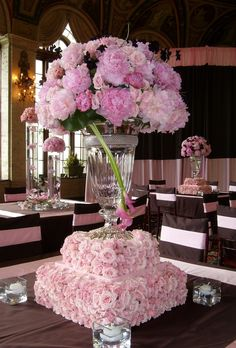The Chic Technique: Tall Pink Wedding Reception Centerpiece. 12 Stunning Wedding Centerpieces - Part 17 via Belle The Magazine Mod Wedding, Wedding Table, Floral Wedding, Wedding Reception, Wedding Flowers, Dream Wedding, Wedding Day, Wedding Blog, Wedding Dresses