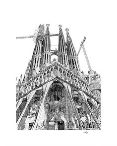 The Passion Facade, 2017. Detailed perspective fine line drawing of The Sagrada Familia in Barcelona. What an amazing place! £80 for a limited edition giclee print, size 40x50cms #Artwork #Prints #Architecture #Drawings