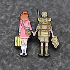 #Repost @pin_house Detail shot of our Wes Anderson inspired Moonrise Kingdom pin | I'm so happy with the way these came out! She even has her kitty tucked away in her bag