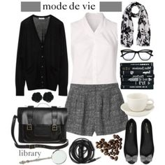 mode de vie - swap out the shorts for a cute gray pleated skirt.  Love the bag!