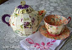 Busy with the Cricky - SVG Cuts Tea for you and me teapot and teacup for my Palm Sunday Tea.