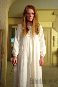 """Joining Chloe is Julianne Moore, who plays Carrie's uber-religious & demented mother, Margaret. """"This woman has clearly had a psychotic break, perhaps several,"""" Julianne said. """"What's sad about it for me is that she's clearly sick and here's this poor child in the thrall of this person who is seriously ill."""" """"And on top of that, they have this mother-daughter relationship. So we want to make that relationship as meaningful as possible..."""" Carrie opens March 13, 2013."""