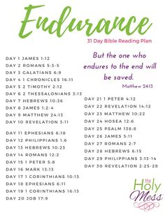 Endurance 31 Day Bible Reading Plan Are you enduring a tough life situation? Use this Endurance 31 day Bible reading plan for the strength that only comes from the Lord. Bible Study Plans, Bible Plan, Bible Study Tips, Bible Lessons, Bible Reading Plans, Scripture Reading, Scripture Study, Bible Art, Bible Verses Quotes